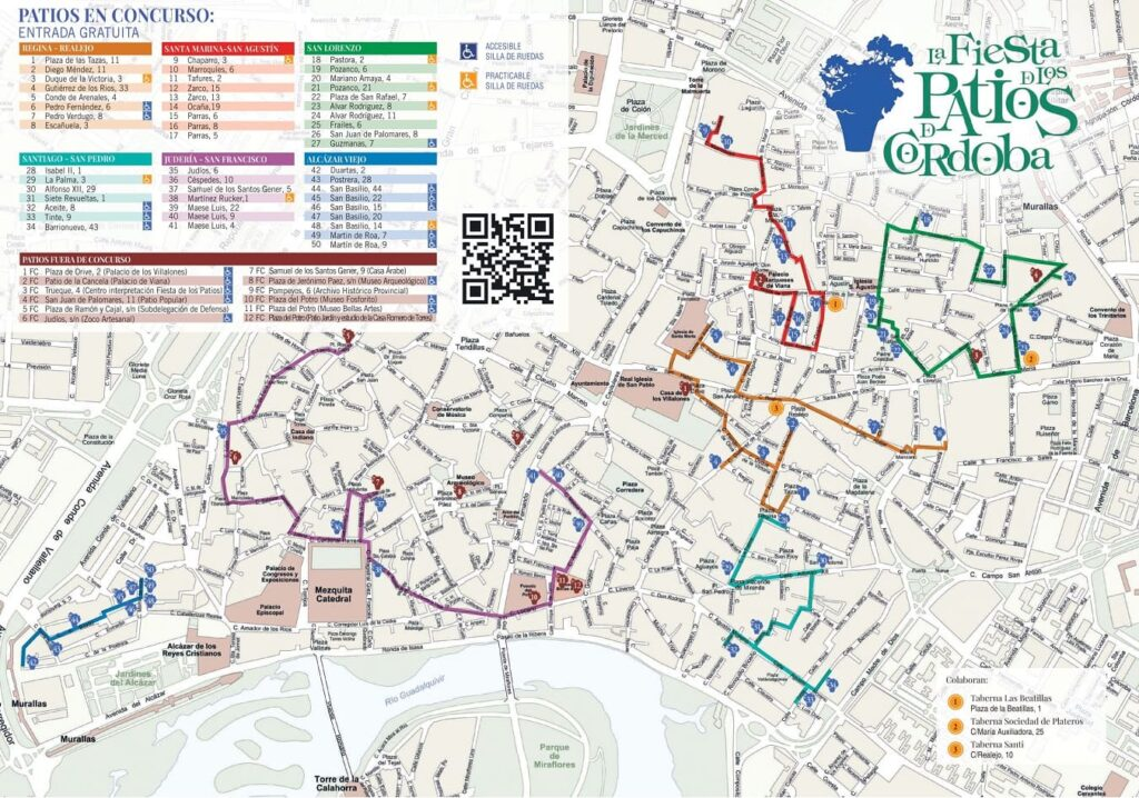 Mapa Plano de Los Patios de Córdoba 2019