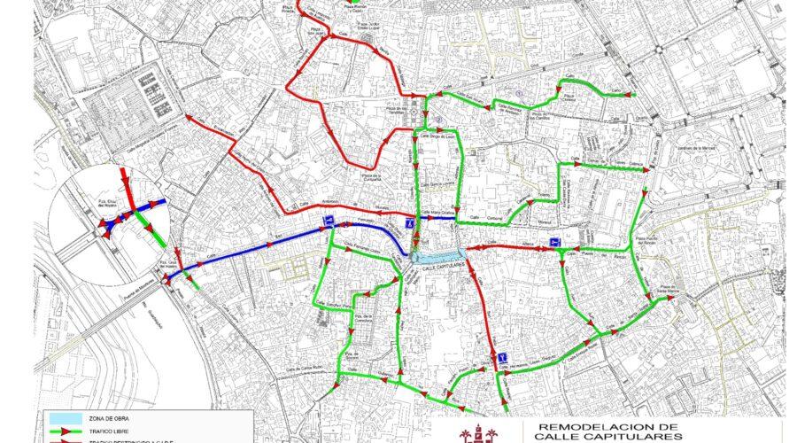Mapa de tráfico durante la remodelación de la calle Capitulares de Córdoba