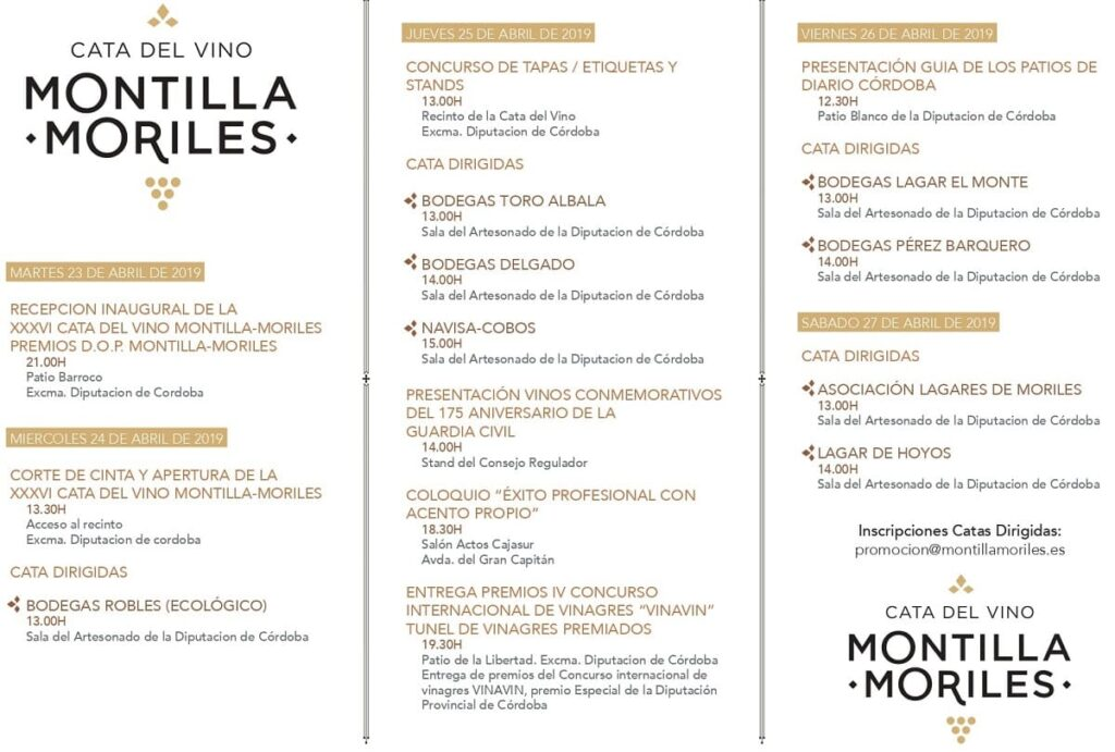 Programa Catas de Vino Montilla-Moriles 2019